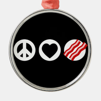 Peace Love Bacon Silver-Colored Round Decoration