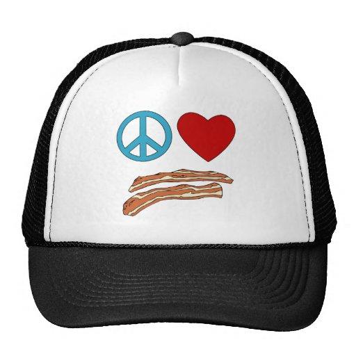 Peace Love Bacon Symbology Tshirt, Mug Hats