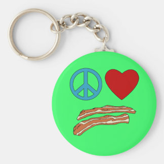 Peace Love Bacon Symbology Tshirt, Mug Key Ring
