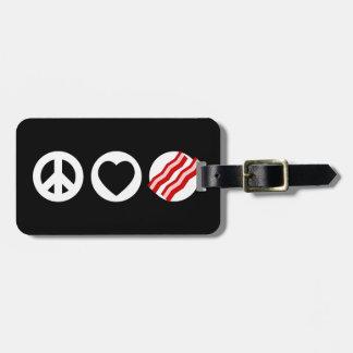 Peace Love Bacon Travel Bag Tags