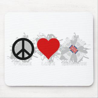 Peace Love Badminton Emblem Mouse Pad