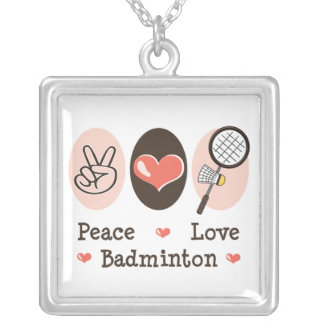 Peace Love Badminton Sterling Silver Necklace