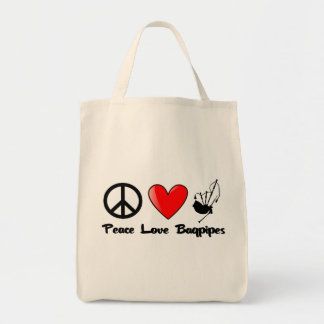 Peace, Love, Bagpipes Grocery Tote Bag