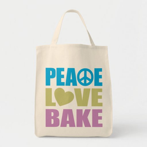 Peace Love Bake Tote Bags