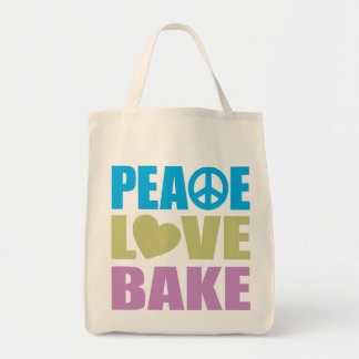 Peace Love Bake Grocery Tote Bag