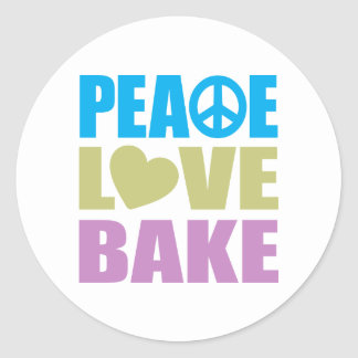 Peace Love Bake Round Sticker