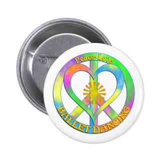 Peace Love Ballet Dancing 6 Cm Round Badge