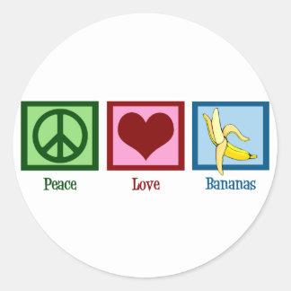 Peace Love Bananas Round Sticker