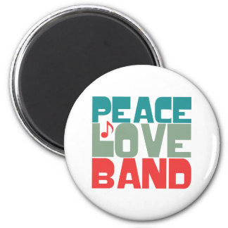Peace Love Band 6 Cm Round Magnet