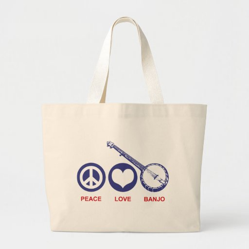 Peace Love Banjo Canvas Bag
