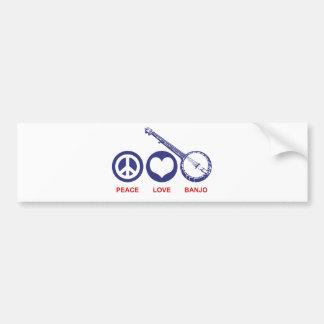 Peace Love Banjo Bumper Sticker