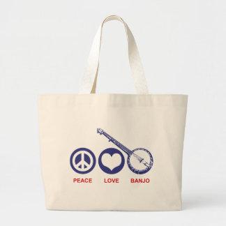 Peace Love Banjo Canvas Bag