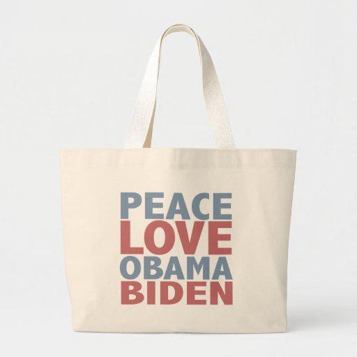 Peace Love Barack Obama Joe Biden Canvas Bags