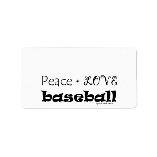 Peace Love Baseball Address Label