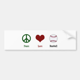 Peace Love Baseball Bumper Sticker