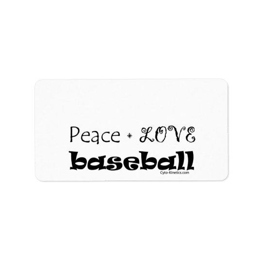 Peace Love Baseball Label