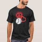 Peace-Love-Baseball, on black red T-Shirt