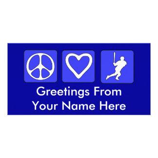 Peace Love Baseball Photo Greeting Card