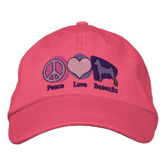 Peace Love Basenjis Embroidered Hat Pink & Purple