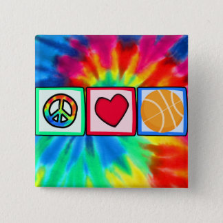 Peace, Love, Basketball 15 Cm Square Badge