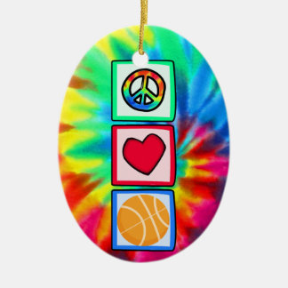 Peace, Love, Basketball Ceramic Oval Decoration
