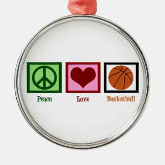 Peace Love Basketball Silver-Colored Round Decoration