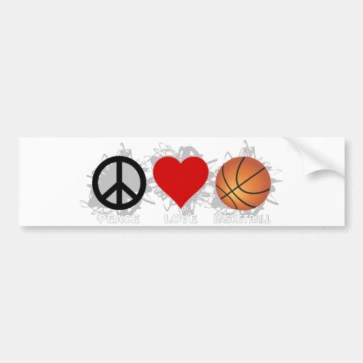 Peace Love Basketball Emblem Bumper Sticker