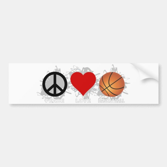 Peace Love Basketball Emblem Bumper Sticker