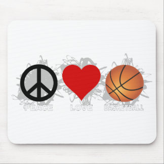 Peace Love Basketball Emblem Mouse Pad