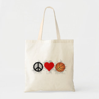 Peace Love Basketball Emblem Tote Bag