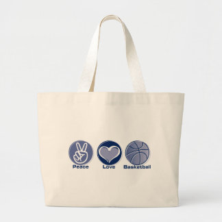 Peace Love Basketball Large Tote Bag