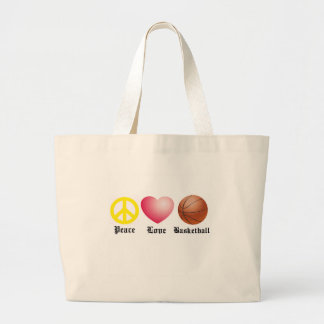 Peace, Love, Basketball Large Tote Bag