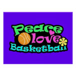 Peace, Love, Basketball; Retro Poster
