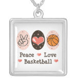 Peace Love Basketball Sterling Silver Necklace
