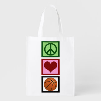 Peace Love Basketball Vertical Reusable Grocery Bag