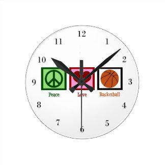 Peace Love Basketball Wallclock