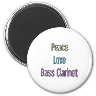 Peace, Love, Bass Clarinet 6 Cm Round Magnet