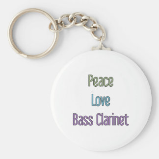 Peace, Love, Bass Clarinet Basic Round Button Key Ring