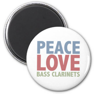 Peace Love Bass Clarinets 6 Cm Round Magnet