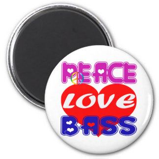 Peace Love bass Fridge Magnets
