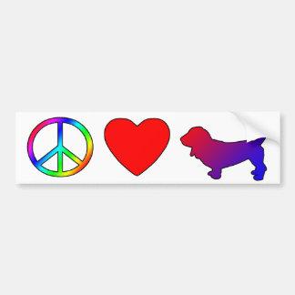 Peace Love Basset Hounds Bumper Sticker