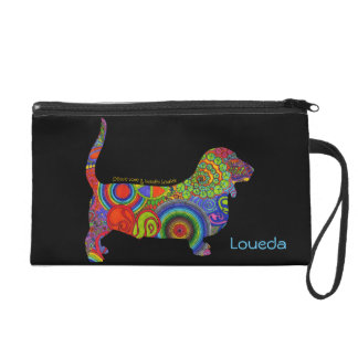 """Peace Love & Basset Hounds"" Pop Art Mini Clutch"