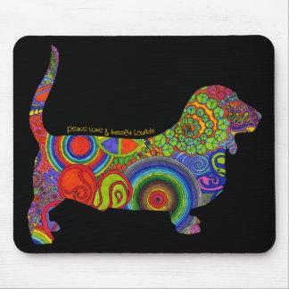 """""""Peace Love & Basset Hounds"""" Pop Art Mousepad"""