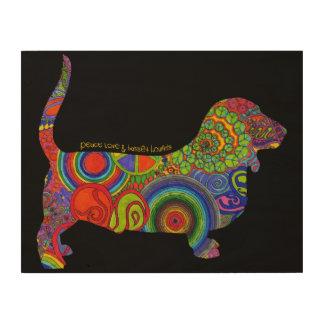 """Peace Love & Basset Hounds"" Pop Art on Wood Wood Prints"