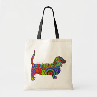 """Peace Love & Basset Hounds"" Pop Art Tote Bag"
