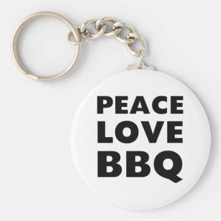 Peace Love BBQ Keychain