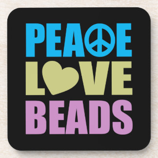 Peace Love Beads Drink Coaster