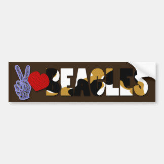 Peace Love Beagles Bumper Sticker