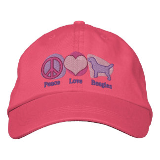 Peace Love Beagles Embroidered Hat (Pink & Purple)