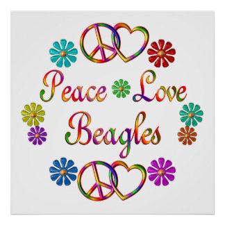 PEACE LOVE BEAGLES POSTER
